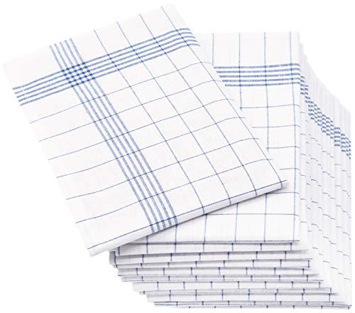 ZOLLNER 12er Set Geschirrtücher Halbleinen, 50x70 cm, blau