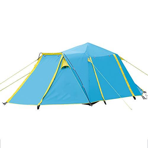 ASDFG Zelt,Campingzelt Wasserdicht Trekking Pop Up Zelt Wurfzelt,Doppelwandig Outdoor 4-5 Personen Blau 169x65inch