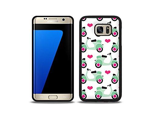 etuo Handyhülle für Samsung Galaxy S7 Edge - Hülle Hybrid Fantastic - Pastell-Motorroller - Handyhülle Schutzhülle Etui Case Cover Tasche für Handy