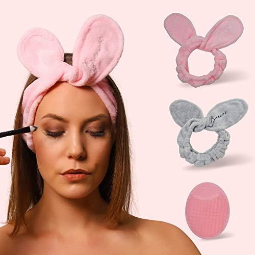 BAAW ME Haarband für Make up | 2 Stück Kosmetische Stirnbänder| Elastisches Haarband zum Waschen und für Gesichtspflege | Mit kostenlosem Silikonreinigungspad