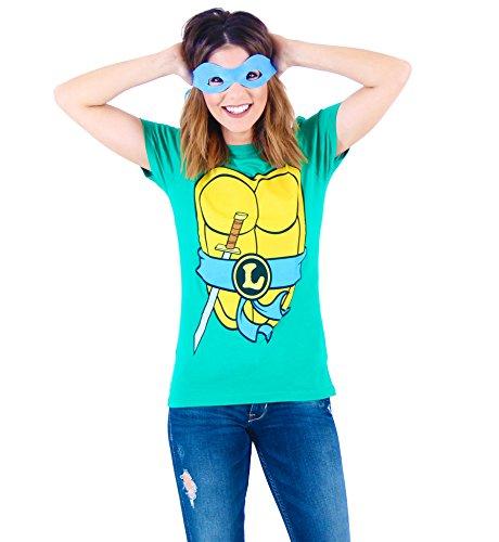 Teenage Mutant Ninja Turtles TMNT Leonardo Juniors Costume Green T-Shirt with Blue Eye Mask (Juniors XX-Large)