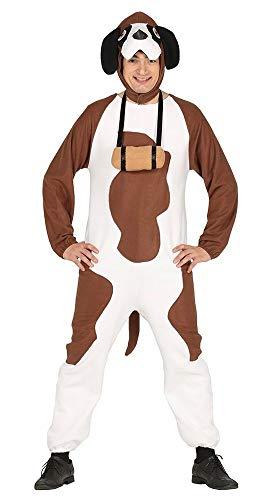 shoperama Lustiges Bernhardiner Herren-Kostüm Hund witzig JGA Junggesellenabschied Karneval Overall Fleece, Größe:L