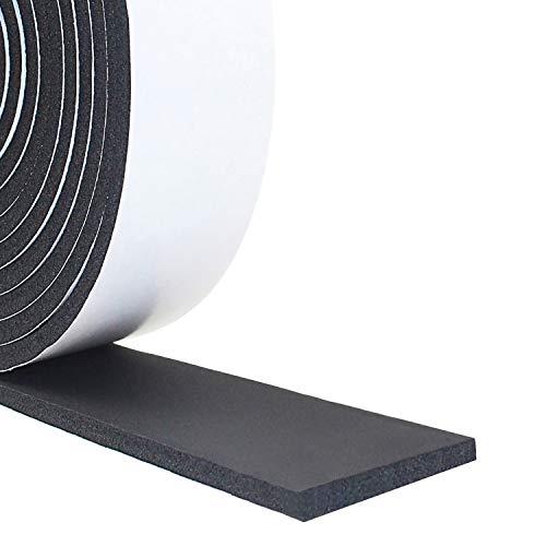 Cinta de sellado autoadhesiva, junta de goma, cinta de sellado, cinta de espuma para puerta, ventana, insonorización, impermeable, anticolisión (50 mm (ancho) x 6 mm (profundidad) x 4 m (largo)