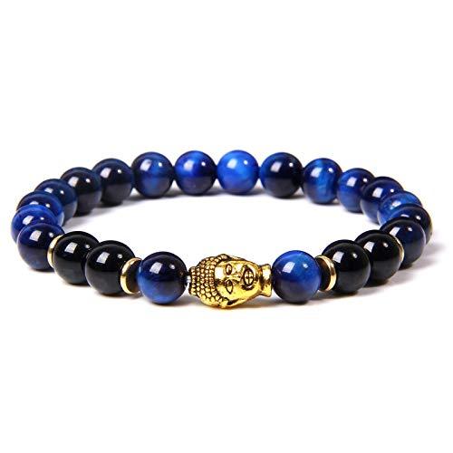 Pulsera De Cuentas De Piedra De Ojo De Tigre para Hombre Y Mujer, Amuleto De Buda Dorado, Pulsera Azul Roja Amarilla De La Suerte 4Darkblue