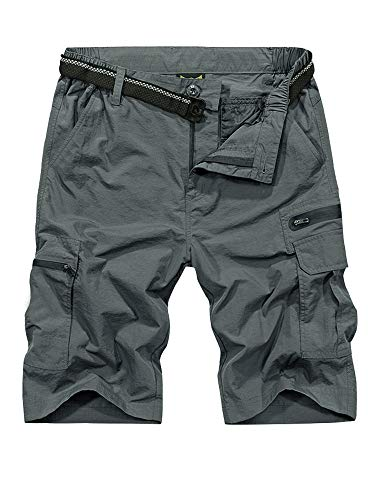 Shorts for Men Casual Quick Dry, Lightweight Tatical with Pockets Zipper Pockets Hiking, Camping, Travel(6222,Grey,30)