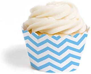 Dress My Cupcake Standard Cupcake Wrappers, Chevron, Sky Blue, Set of 50