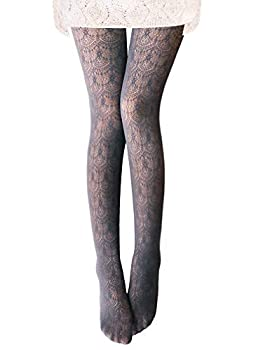 Vero Monte 1 Pair Women s Hollow Out Knitted Patterned Tights  Grey  4452