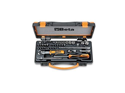 Beta 900/C11 - Valigia porta attrezzi professionale con 11 Chiavi a Bussola esagonali, 20 inserti per avvitatori Torx e 8 accessori. Cacciavite quadro, Cricchetto reversibile. Peso : 1,2 kg