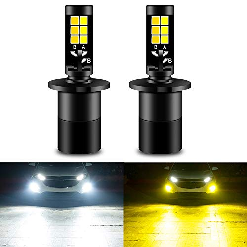 CIIHON H3 LED Fog Light Bulb 3030SMD 35W Lights Bulbs Not Headlight 1900LM Dual Color 6000K White 3000K Yellow DRL Replacement Pack of 2