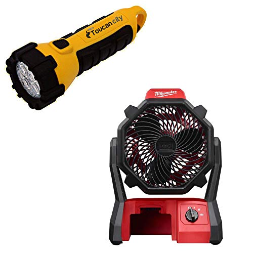 Toucan City LED Flashlight and Milwaukee M18 18-Volt Lithium-Ion Cordless Jobsite Fan (Tool-Only) 0886-20