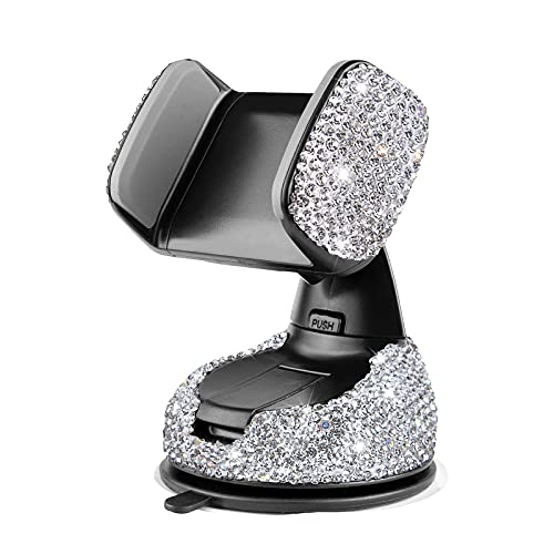 eing Bling Crystal Car Phone Mount with One More Air Vent Base,Universal Cell Phone Holder for Dashboard,Windshield and Air Vent,Silver