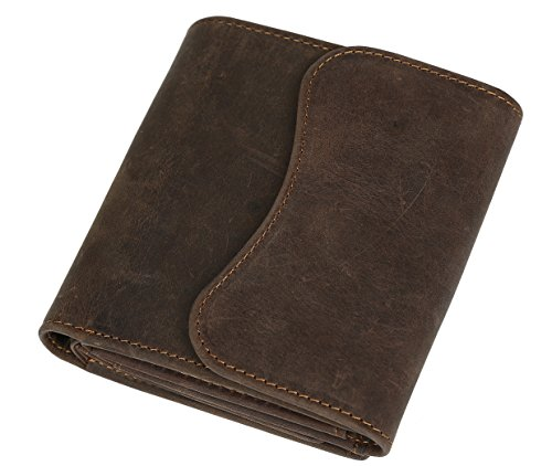[(チョウギュウ)潮牛]財布 メンズ 短財布 本革 三つ折り 小銭入れ コインケース 軽量 ビンテージ風 ダークブラウン