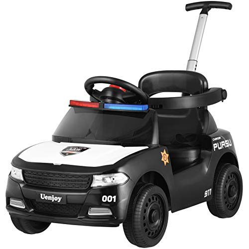 Uenjoy Ride On Toys 3 in 1 Baby Push Car,Convertible Toddler Walker&Stroller, for 10-48 Months Boys&Girls,with Adjustable Push Rod, Detachable Fence,Storage Space,Music, Car Light, Seat Belt-Black