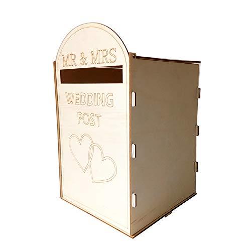 Hylotele DIY Holz Hochzeit Mailbox Briefkasten mit Schloss Rustikale Hohl Geschenk Kartenhalter für Empfang Hochzeitstag Party Dekoration