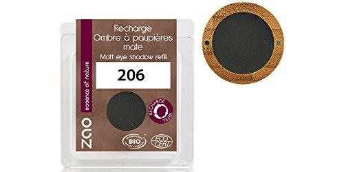 ZAO REFILL Matt Eyeshadow 206 schwarz Lidschatten-Nachfüller (Cake Pro Eyeliner, Augenbrauenpuder)...
