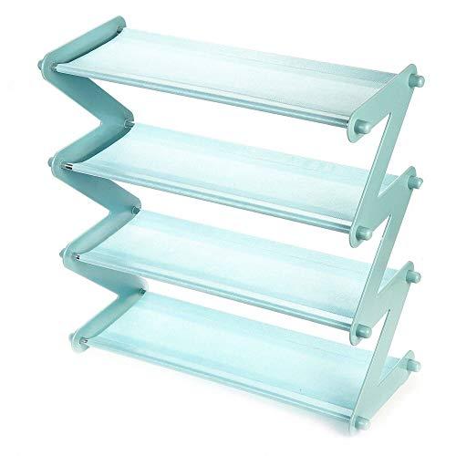 Zapatero de metal plegable de 4 niveles, organizador de acero desmontable (tamaño único; color: azul)