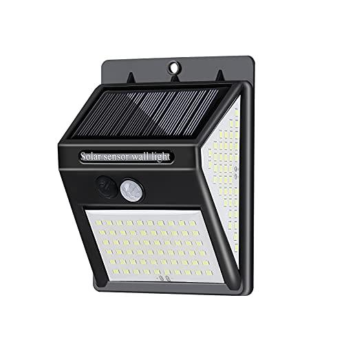 Lámpara de pared solar, 144 luces de seguridad solares al aire libre, luces de jardín exteriores impermeables con ángulo ancho de 270°, lámpara de inducción de movimiento para puerta delantera, patio