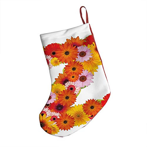 GULTMEE Christmas Stocking,Flower Themed Alphabet Capital Z Symbol Bouquet Season Inspirations Classic Design,Xmas Holiday Stocking Tube Socks 18 Inches