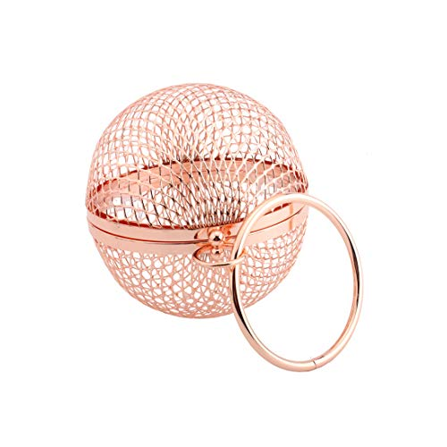 LETODE Women's Personality Features Geometric Evening Bag Shoulder Horizontal Bag, Clutch Cage Bag (ROSE GOLD)