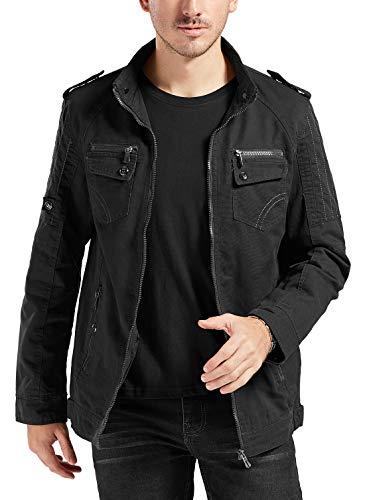Trimthread Men's Full-Zip Multi-Pocket Military Style Cotton Lightweight Jacket Windbreaker (Small, Black)