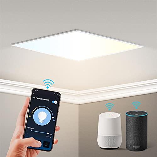 Aigostar Panel LED inteligente WiFi, 32W, CCT. Regulable de luz cálida a blanca 3000 a 6500K, 3200lm, marco color blanco. Compatible con Alexa y Google Home. Panel cuadrado medidas: L595*W595*H25mm