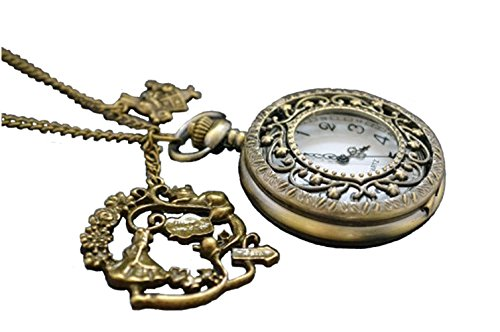 Alicia en el Pas de las maravillas de Alicia - Reloj de bolsillo collar, latn antiguo con conejo, gato colgante tetera