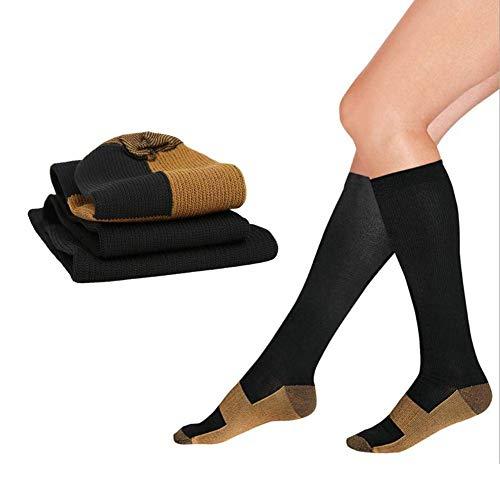 2Pair Elasticity Ankle Protection Calze, Super durevolezza, Calze a compressione alte fino al ginocchio, Comode (Calze tubolari