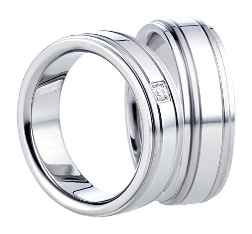 Vriendschapsringen – partnerringen – verlovingsringen – trouwringen – trouwringen van roestvrij staal in zilver damesring met 1 gezette zirkoniasteen.