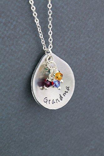 Grandma Birthstone Necklace - Personalized Nameplate, Custom Grandchildren Colors - Handstamped 1 Inch