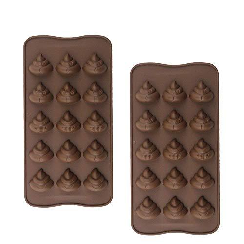 2 Stück Silikon Schokoladenform Poop Emoji Pralinenform Eiswürfelform Silikonbackform für Schokoladen, Gelee, Kuchen und Eiswürfel Braun