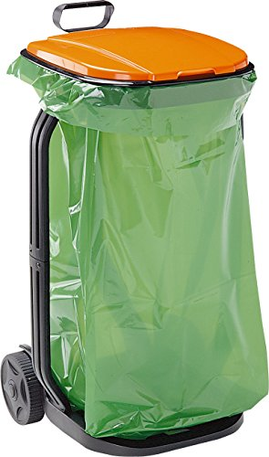 GF Garden, Müllsackständer für Laub oder Abfälle mit Deckel und Rädern, aus Kunststoff