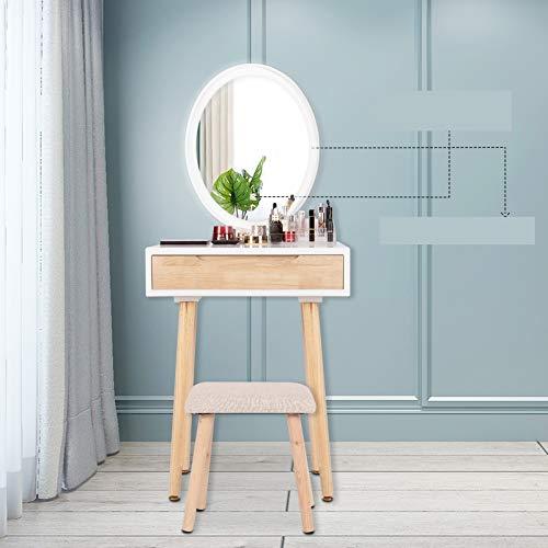 Puluomis Schminktisch LED-Beleuchtung Kosmetiktisch mit gepolstertem Hocker Frisiertisch Spiegel Schublade Kommode Make-up Tisch, Wohnzimmer, Modern(1 Schublade, Holzfarbe, Oval)