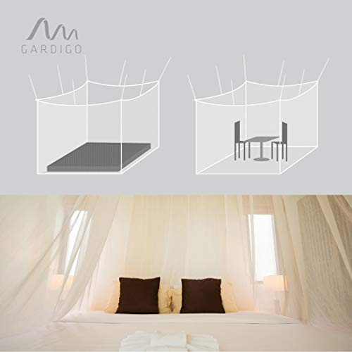 Gardigo Moskitonetz, Mückennetz | Insektenschutz, 200 x 220 x 200 cm, Quadratisch | Schutz vor Mücken, Fliegen | Geeignet für Einzel- und Doppelbett