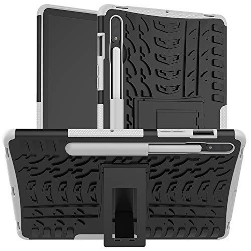 WANTONG Funda de Piel para Tablet PC Caja Protectora Galaxy Tab for Samsung S7 T870 / T875 Textura del neumático a Prueba de Golpes de TPU + PC con el sostenedor (Color : White)