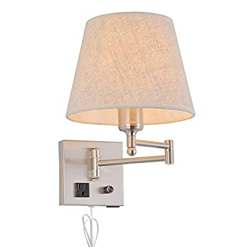 Bedside Wall Mount Light with Dimmable Switch and Outlet Swing Arm Fabric Shade Wall Sconce Light with USB Port and Plug in Cord Satin Nickel Wall Lamp for Bedroom Living Room and Hotel
