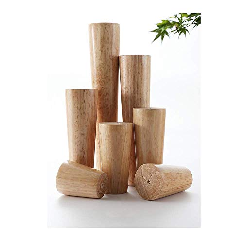 LYMHGHJ 4X Furniture Legs Wooden,Table Feet,Made of Rubber Wood,Used for Beds,Cabinets and Chairs,with Screws and Floor Mats,Right-Angle/Bevel-Angle Sofa Legs,Various Sizes,Straight Feet,15cm/6in