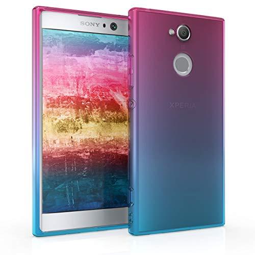 kwmobile Hülle kompatibel mit Sony Xperia XA2 - Hülle Handy - Handyhülle Zwei Farben Pink Blau Transparent
