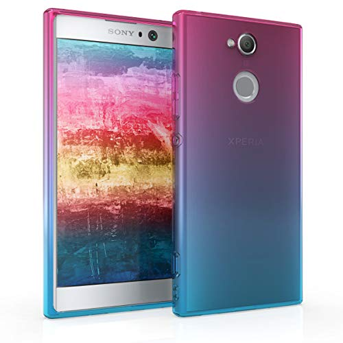 kwmobile Funda Compatible con Sony Xperia XA2 - Carcasa de TPU y Bicolor en Rosa Fucsia/Azul/Transparente