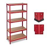 Relaxdays Estantería de almacén, Capacidad de 1325 kg, Cinco estantes, 180x90x45 cm, Metal, MDF, Rojo