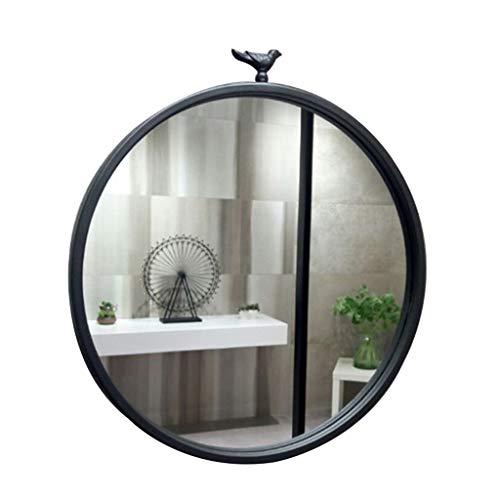 Miroirs de salle de bain Miroir Rond Noir Miroir Mural Pour Salle De Bain Miroir De Maquillage Créatif Miroir De Chambre À Coucher Bordure En Métal (Color : Black, Size : Diameter 60cm (24 inches))