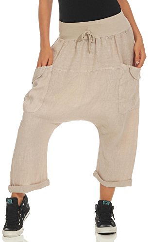 Malito Mujer Harem Pantalones Lino Pantalones Bloomers Capri Colores Lisos 6285 (Beige)
