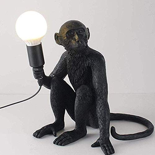 Monkey Lamp Schwarz-Hängend Harz Affe Tischlampe Wandlampe Kronleuchter Stehlampe Schwarz Harz Material E27 kreative Land Retro Kronleuchter Bar Cafe Restaurant Hanf Kronleuchter@Noir D