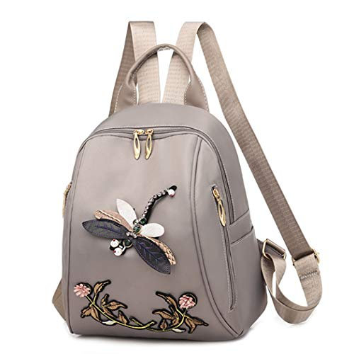M STAR Leisure Backpack Embroidered Backpack 3D Dragonfly Backpack Female Ethnic Style Waterproof School Bag Outdoor Travel Bag,Gray