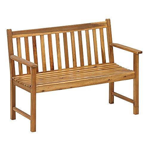 Dehner Gartenbank Mykonos, 2-Sitzer, ca. 120 x 89 x 61 cm, FSC Akazienholz, braun