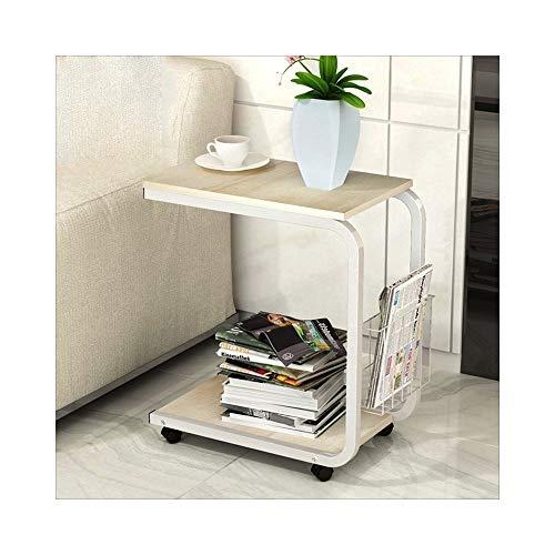 AJZXHE Table de café mobile simple table de chevet mini canapé moderne Bureau simple (Couleur : White frame willow color)