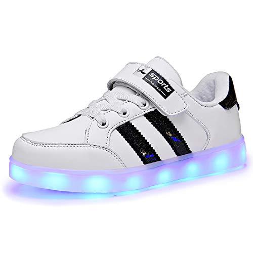 XUEJETEU Kinder LED Schuhe 7 Farbe Leuchtend USB Aufladen Laufschuhe Low-top Sport Outdoorschuhe Licht Atmungsaktive Leichtathletikschuhe Hoch Gymnastik Trekking Walking Sneaker Jungen Mädchen