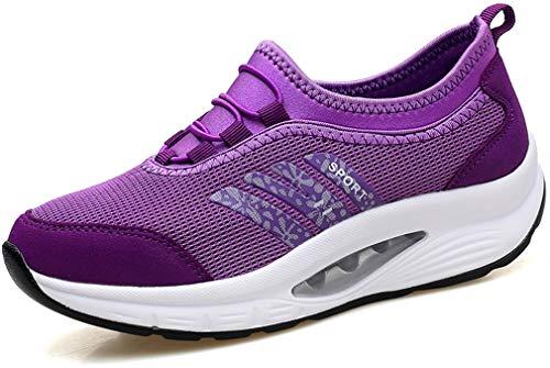 Solshine Damen Plateau Air Turnschuhe Walkmaxx Fitnessschuhe 386 Violett 41EU