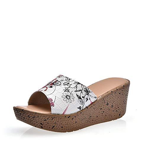 Cxypeng Womens Wedge Flip Flops,Sandalias y Zapatillas de Cuero de tacón bajo de tacón Alto, Zapatos de Verano de Fondo Grueso-A_41,Sandalias de Punta Descubierta