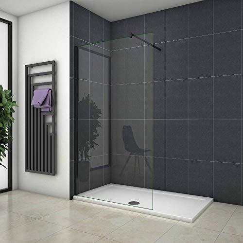 Mamparas de Ducha Pantalla Panel Fijo Perfil Negro Cristal Antical 10mm Barra 70-120cm - 90x200cm