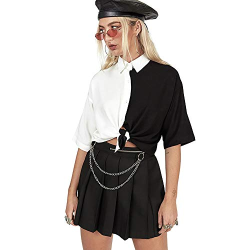 Vdual Femmes Harajuku Ample Gothique Chemise Hauts Noir Gothic Blanc Patchwork Gothic Vêtement de Rue Mode Décontractée T-Shirts coréen Sexy Grunge Punk Surgir T-Shirts